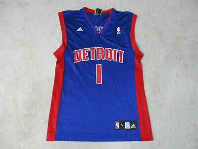 d7deb14810e Adidas Allen Iverson Detroit Pistons Basketball Jersey Adult Small Blue Red  Mens