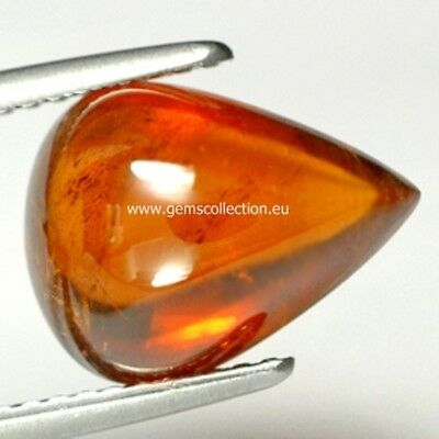 Aaa  Natural Spessartine Garnet Ct 5.70  Orange Pear Cabochon Cut Namibia Africa