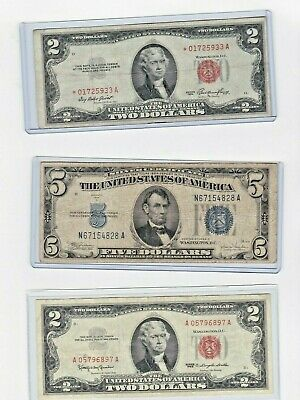 1963 $2 Red Seal,1953 $2 Red seal star & 1934C $5 Silver Certificate lot of 1 ea