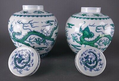 19th/20th Century Chinese Porcelain Pair Famille Verte Green Dragon Jars w/ Lid