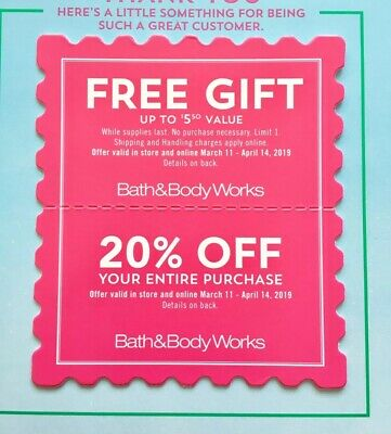 2 Bath & Body Works Coupon Freee Gift Item 20% Off Purchase FAST SHIPPING!!