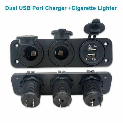 12V Car Boat Cigarette Lighter Socket 2.1A+1A Dual USB Port Charger Mount Panel