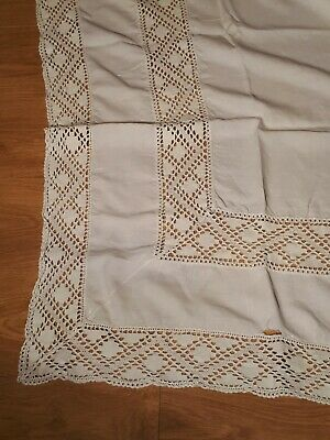 Lovely Large Rectangular Vintage White Tablecloth With A Lace Design.