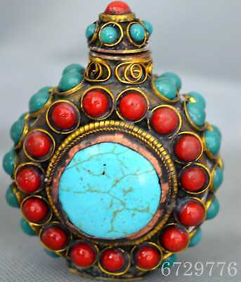 China Collectable Copper Carve Flower Inlay Colour Agate Auspicious Snuff Bottle