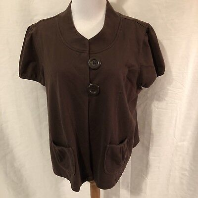 Cato Womens Plus Size 18W 20W Brown Shrug Blouse Two Button Short Sleeve Brown