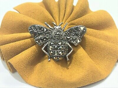Vintage Sterling Silver - Art Deco Marcasite Bee Brooch Pin