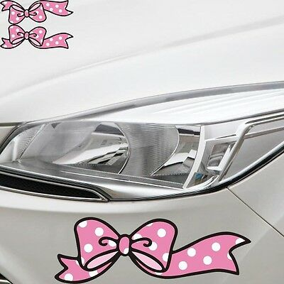 A Pair Pink Bow Sticker Car Bumper Van Window Laptop JDW VINYL Decals Stickers