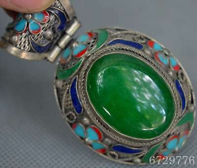 Chinese Collectable Hand Old Miao Silver Carve Flower Inlay Jade Usable Pendant