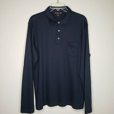 168ac568 Michael Kors Mens XL Slim Fit Dark Navy Blue Long Sleeve Cotton Polo Shirt