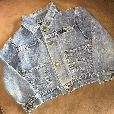 Vintage 60's 70's Wrangler Denim Jean Jacket Youth Girls Sz 4 Snap Up