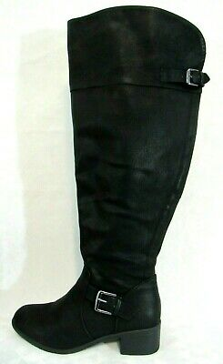 586427af5e3 Avenue Madrid Womens 8.5 W Over the Knee Boots Wide Width Black Pirate Biker