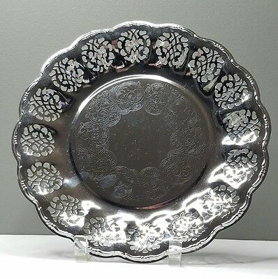 Mid Century Chrome Plated Serving Plate Etched Die-Cut Design