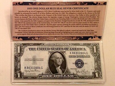 1935 Series $1 One Dollar Blue Seal Silver Certificate - Presentation Cased