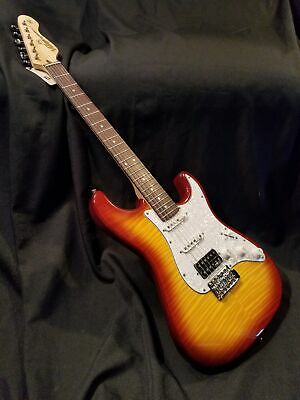 NEW Vintage Wilkinson Limited Edition SuperStrat HSS Flame Top V6HFTB Electri...