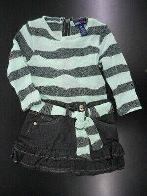 Toddler Girls Limited Too $32 Mint & Black Striped Dress Sizes 2T - 4T