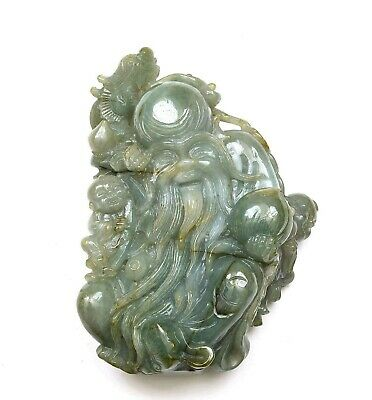 Chinese Jade Jadeite Carved Carving Shoulo God Longevity & Boy Figurine Figure