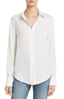 7a138cc8976965  295 Vince Slim Fit Button Front Stretch Silk Blouse White Size Xs Extra  Small