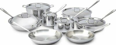 All-Clad 401716 Stainless Steel Tri-Ply Bonded Dishwasher Safe Cookware 14pc Set