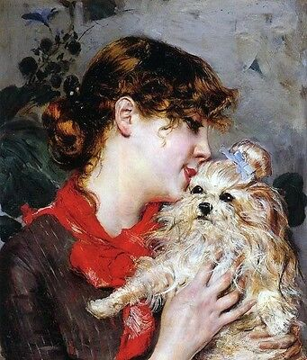 Hand painted Oil paintingyoung woman with her pet little dog with free postage
