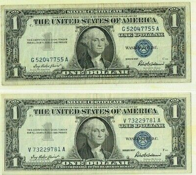 United States Silver Certificates 2 X1957 Issues