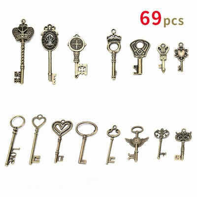 69Pcs Antique Vintage Old Look Bronze Skeleton Keys Fancy Heart Bow Pendant Gift