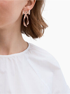 46dac5017817d KATE SPADE ALL WRAPPED UP Grosgrain Bow Statement Earrings in Rose 🌹 Gold  NWT