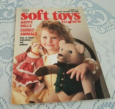 1990 edition SOFT TOYS TO SEW 80p BOOK w Patterns DINOSAURS DOLLS TEDDIES MOUSE