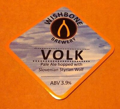 Beer pump badge clip WISHBONE brewery VOLK cask ale pumpclip front Yorkshire