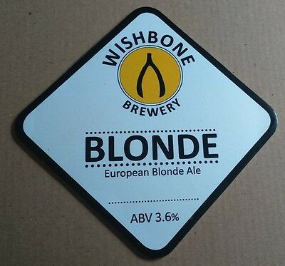 Beer pump badge clip WISHBONE brewery BLONDE cask ale pumpclip front Yorkshire