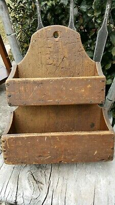 Early Primitive Wooden Wall Hanging Candle Box Old Red Paint Square Nails