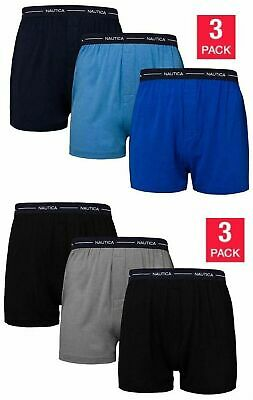 New Nautica Cotton  Modal Mens 3 Pack Knit Boxers Variety Sizes
