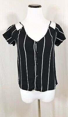 456a3def188ff Kendall and Kylie Cold Shoulder Top Sz XS Black White Striped Short Sleeve  Shirt