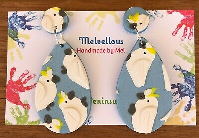 Australian Sulphur Crested Cockatoo dangles Melvellous earrings handmade