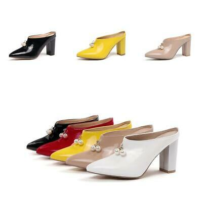 9159da208e8 Chic Women Beads Block Shoe High Heel Slingback Pointy Toe Pumps Slip on  Loafers