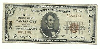 $5.00 1929 NATIONAL BANK NOTES circulated Kansas City, MO. Type 1 Charter #3456