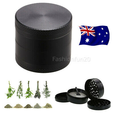 Herb Tobacco Grinder Smoke Muller Metal 4-Piece Magnetic Lid Crusher Scraper OZ