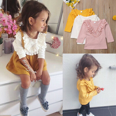 UK Vintage Ruffled Collar Kids Baby Girl Shirt Long Sleeve T-shirt Tops Tops Tee