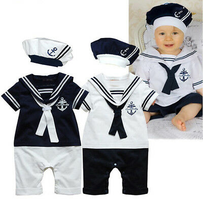 UK Cotton Newborn Baby Boy Sailor Playsuit Toddler Outfit Set Romper Clothes+Hat