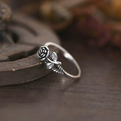 Vintage 925 Silver Rose Flower Engagement Wedding Womens Jewelry Ring Size 5-10