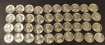 1963 D WASHINGTON QUARTERS Uncirculated Roll of 40 $10 Face Value 90% Silver 25C