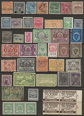 US revenue stamps -  different states, all different