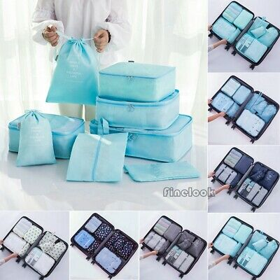 8PCS Waterproof Clothes Travel Storage Bags Packing Cube Luggage Organizer Pouch