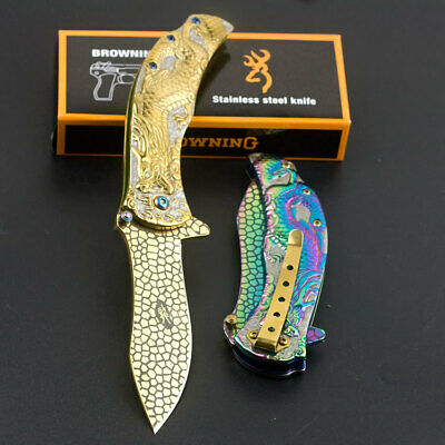 Outdoor Tactical Spring Assisted Folding Knife Dragon Handle Camping Survive