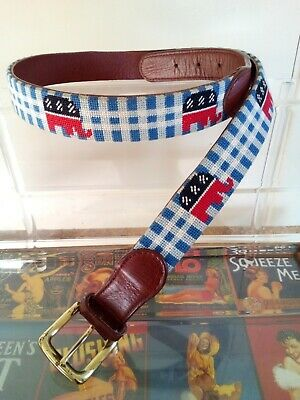 Tucker Blair Belt 36 Brown Leather Embroidered REPUBLICAN Elephant American Flag