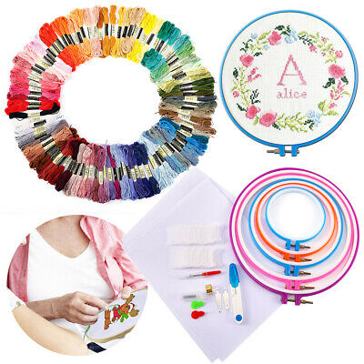 Cotton Embroidery Thread Skein Floss Cross Stitch Sewing Craft Cloth Frame Ring