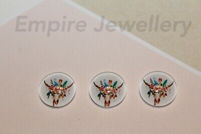 2 x Longhorn Steer Skull #3 12x12mm Glass Cabochons Cameo Dome Bull Cow Deer