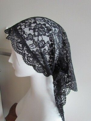 Black Lace Mantilla Floral Vintage Scarf Mourning Catholic Church Prayer Veil