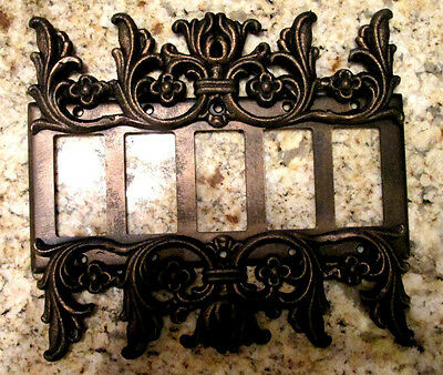 Metal Five Rocker Switch Plate Cover Old World Hand Made Tuscan Medieval Fleur