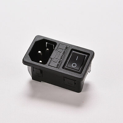 AC 250V 10A 3-pin Rocker Switch IEC320 C14 Power Inlet Socket With Fuse TOD