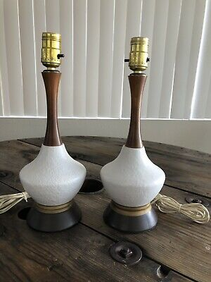 vintage mid century modern Pair Of Table Lamps Eames Era Danish 60's Walnut